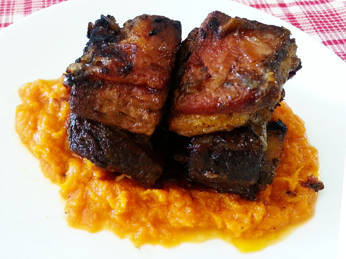 Slow braised short rib butternut puree recipe