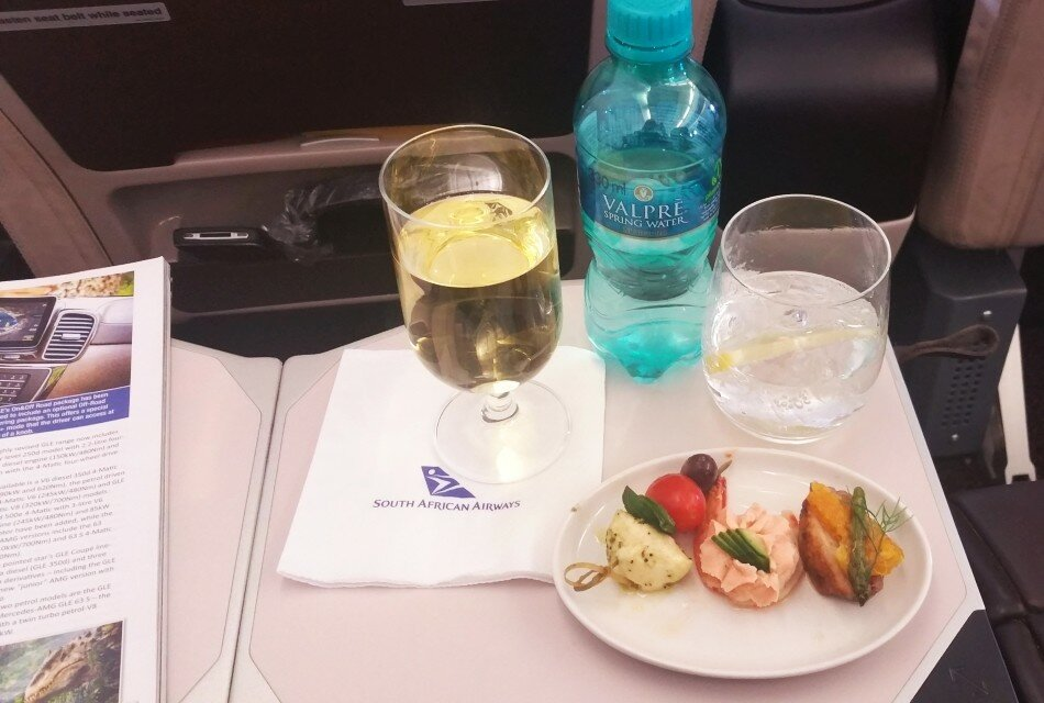 SAA in-flight meal Johannesburg to Nairobi canapes