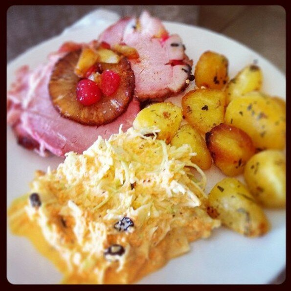 Traditional gammon with pineapple and cranberry glaze